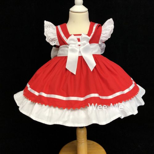 New Arrival Stunning Baby Girl Spanish Red Sailor Style Puff Ball Dress